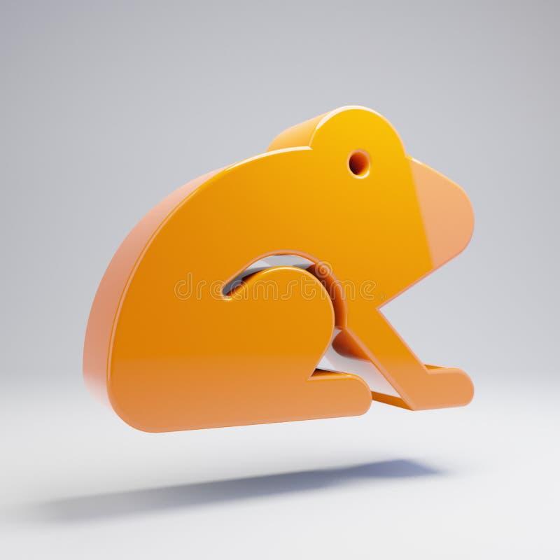 在白色背景隔绝的容量光滑的热的橙色青蛙象 库存例证