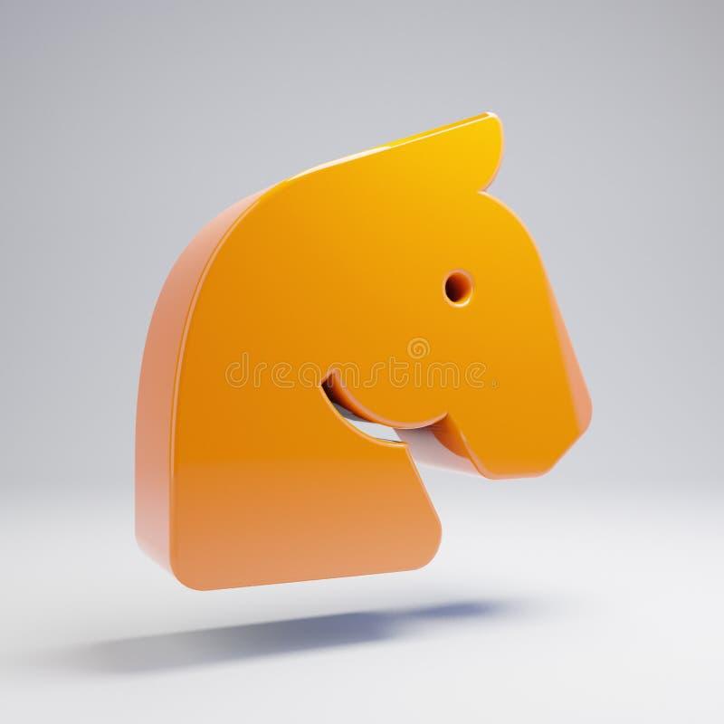 在白色背景隔绝的容量光滑的热的橙色马头象 皇族释放例证