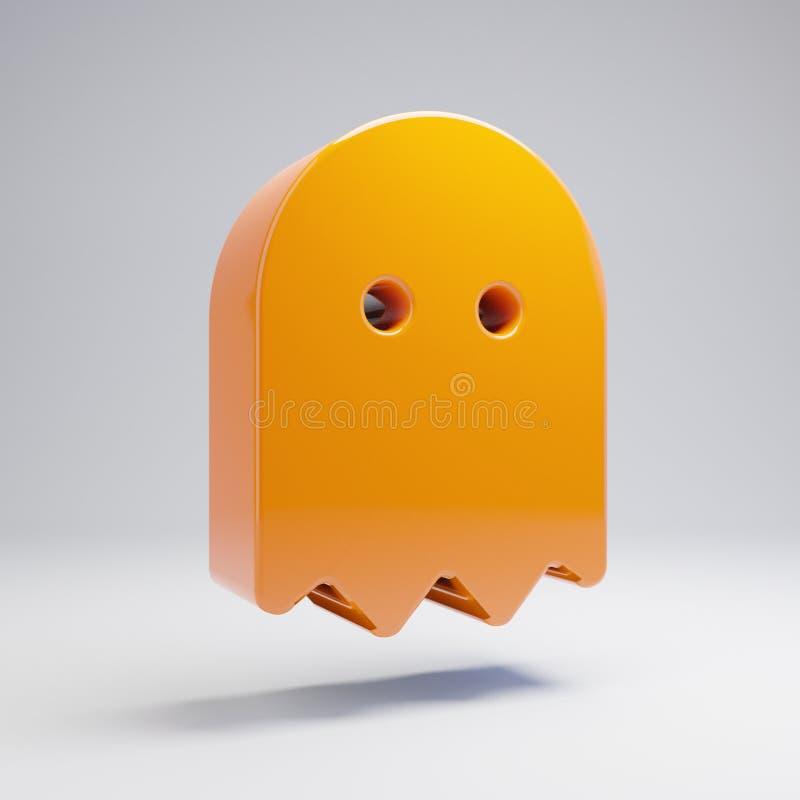 在白色背景隔绝的容量光滑的热的橙色鬼魂象 皇族释放例证