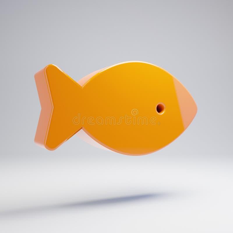 在白色背景隔绝的容量光滑的热的橙色鱼象 向量例证