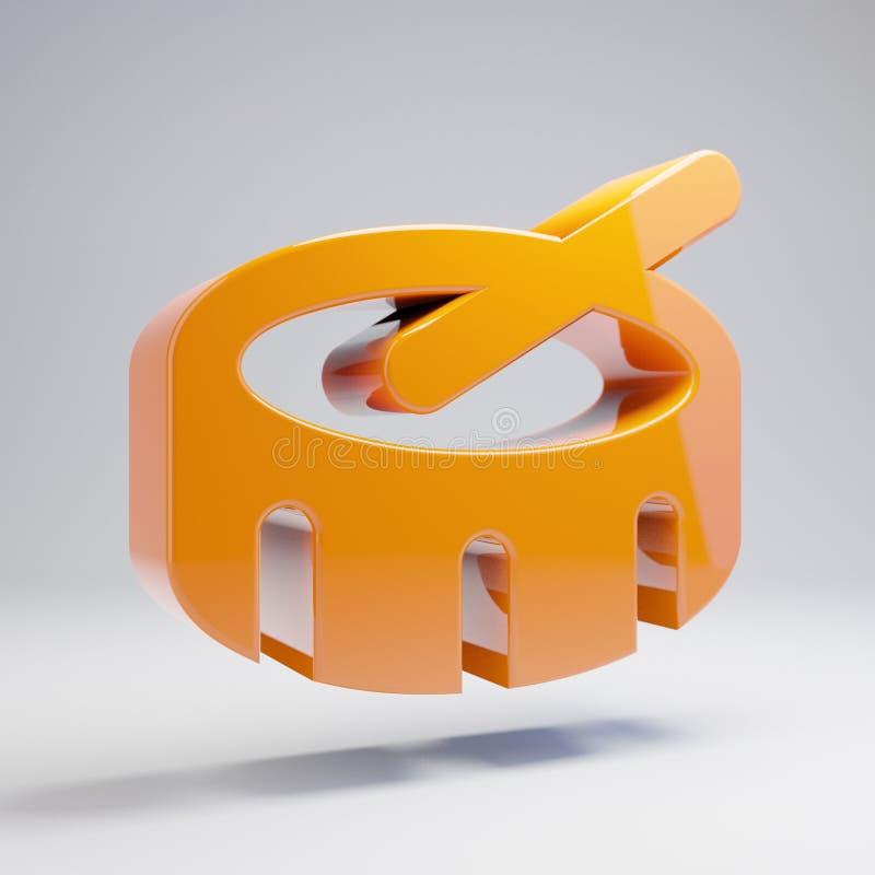 在白色背景隔绝的容量光滑的热的橙色鼓象 库存例证