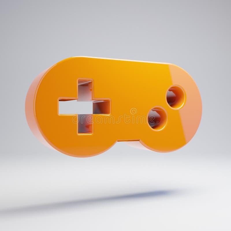 在白色背景隔绝的容量光滑的热的橙色Gamepad象 库存例证