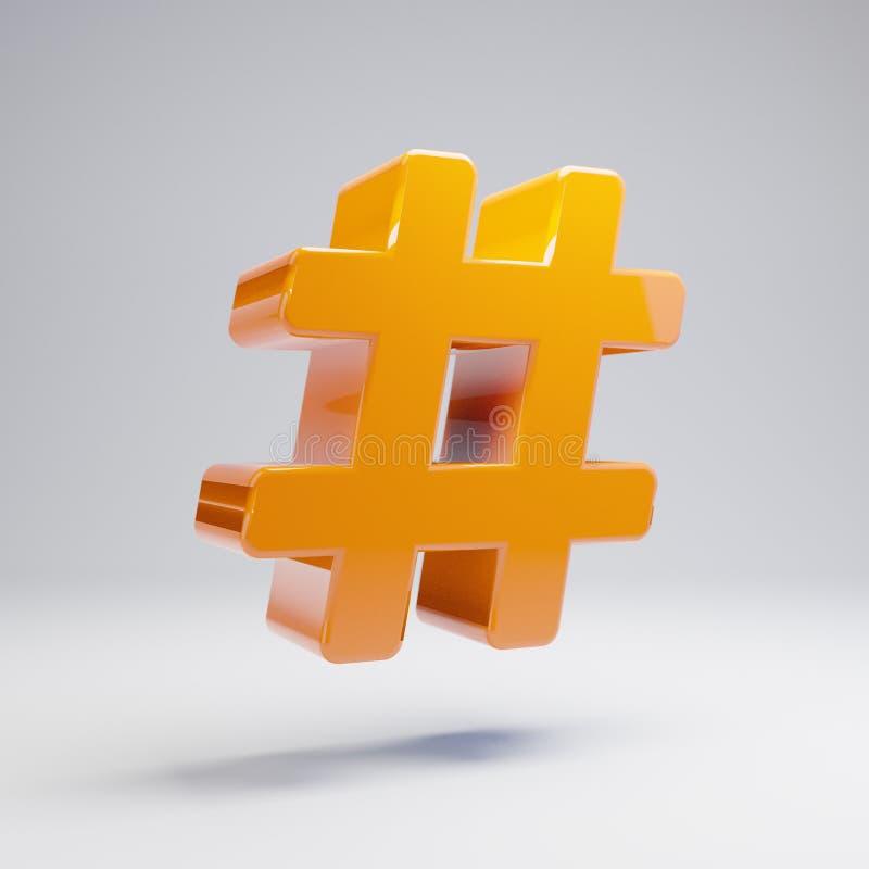 在白色背景隔绝的容量光滑的热的橙色Hashtag象 库存例证