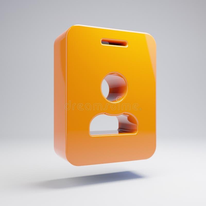 在白色背景隔绝的容量光滑的热的橙色id徽章象 向量例证