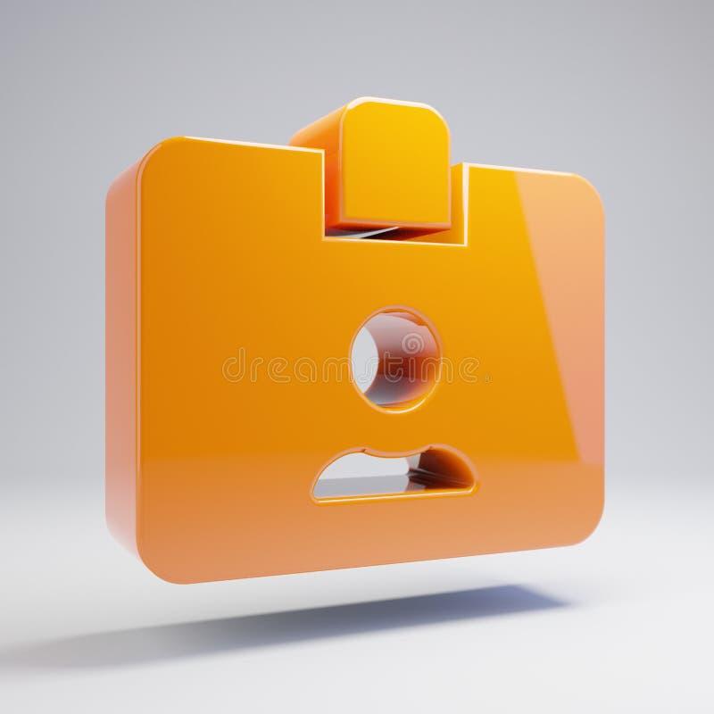 在白色背景隔绝的容量光滑的热的橙色id徽章象 皇族释放例证