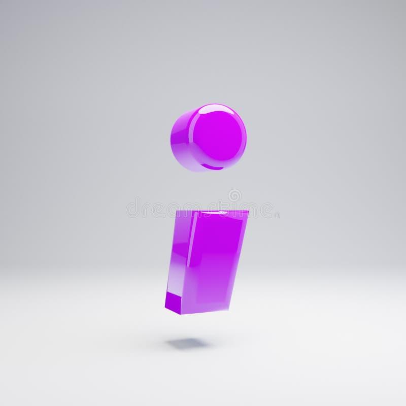 在白色背景隔绝的容量光滑的紫罗兰色分号标志 向量例证