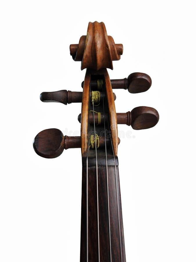 在白色背景隔绝的小提琴的特写镜头:纸卷、pegbox和tunning的钉 库存照片