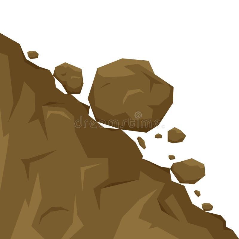 在白色背景隔绝的山崩,石头从岩石下跌 滚动下来小山的冰砾 rockfall 库存例证