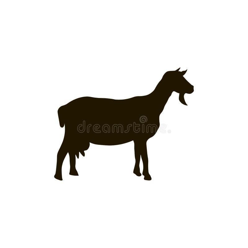 在白色背景隔绝的山羊剪影 向量例证