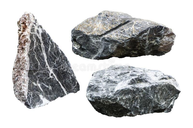 在白色背景隔绝的岩石 与保险开关的花岗岩石头 r 免版税库存图片