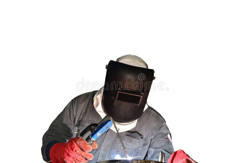 在白色背景隔绝的工作者焊接 库存照片