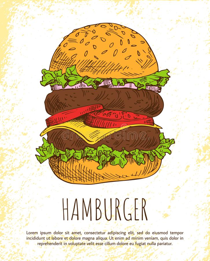 在白色背景隔绝的巨大的汉堡包 库存例证