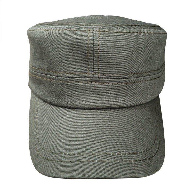 在白色背景隔绝的布料盖帽 在军事样式的棒球帽 裁减路线 库存图片