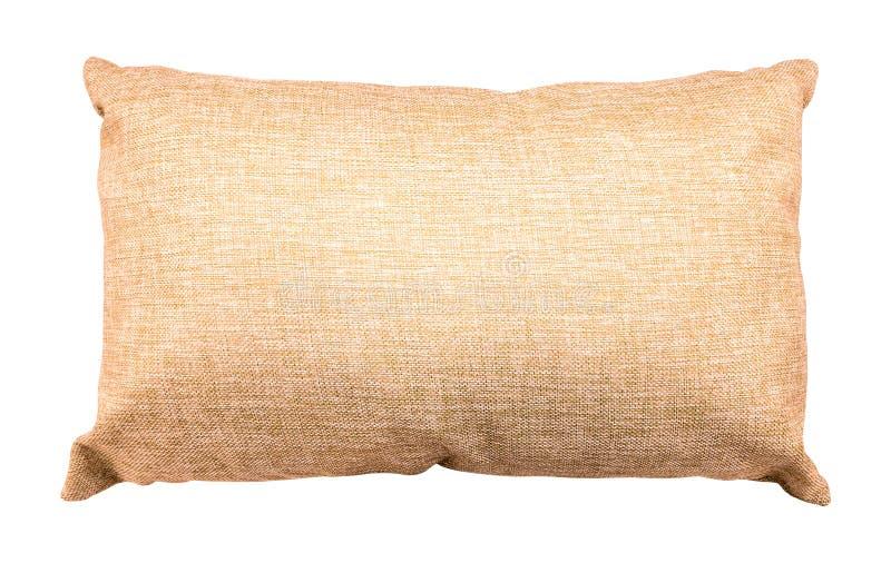 在白色背景隔绝的布朗枕头 由粗麻布材料做的软的坐垫 裁减路线 免版税库存照片