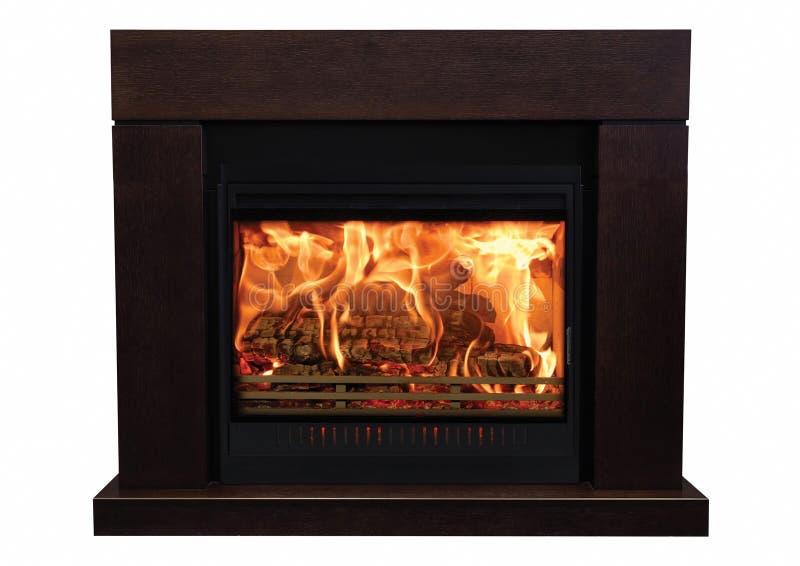 在白色背景隔绝的布朗灼烧的壁炉 免版税图库摄影