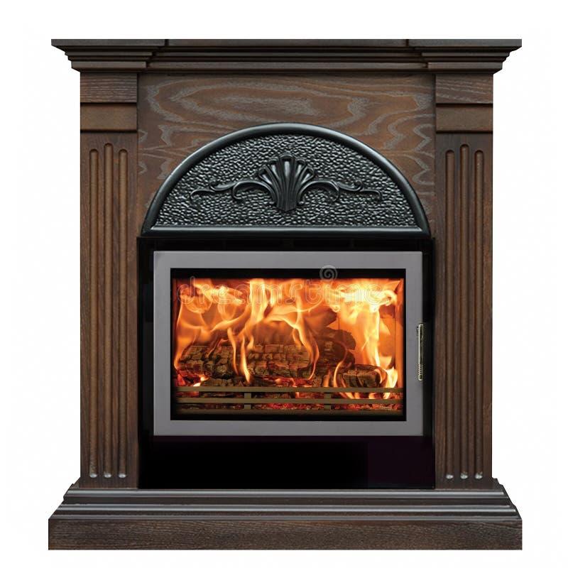 在白色背景隔绝的布朗灼烧的壁炉 免版税库存照片