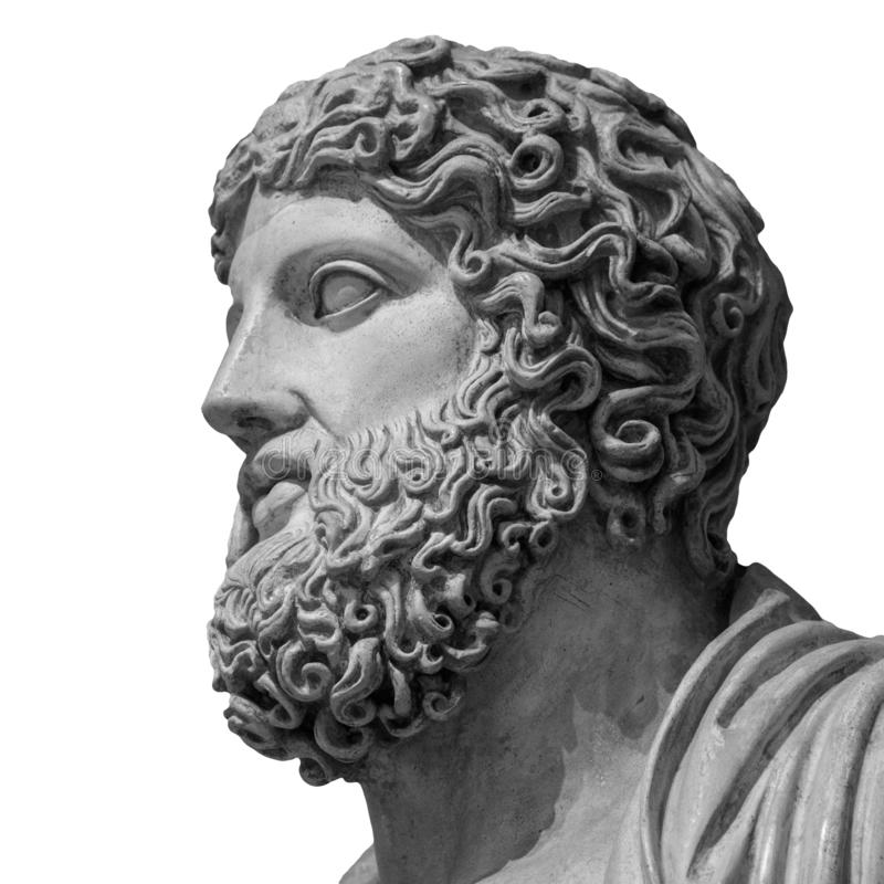 在白色背景隔绝的希腊神宙斯大理石象  免版税图库摄影