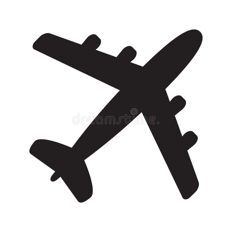 在白色背景隔绝的平面象,在平的样式的飞机标志 飞机标志 向量例证