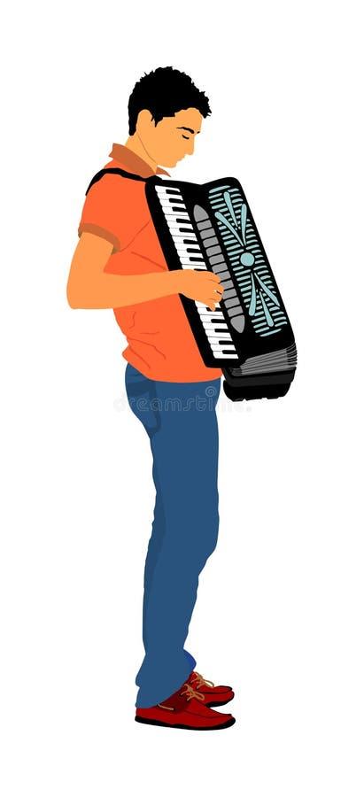 在白色背景隔绝的年轻音乐家手风琴人传染媒介例证 在公众的音乐事件 库存例证