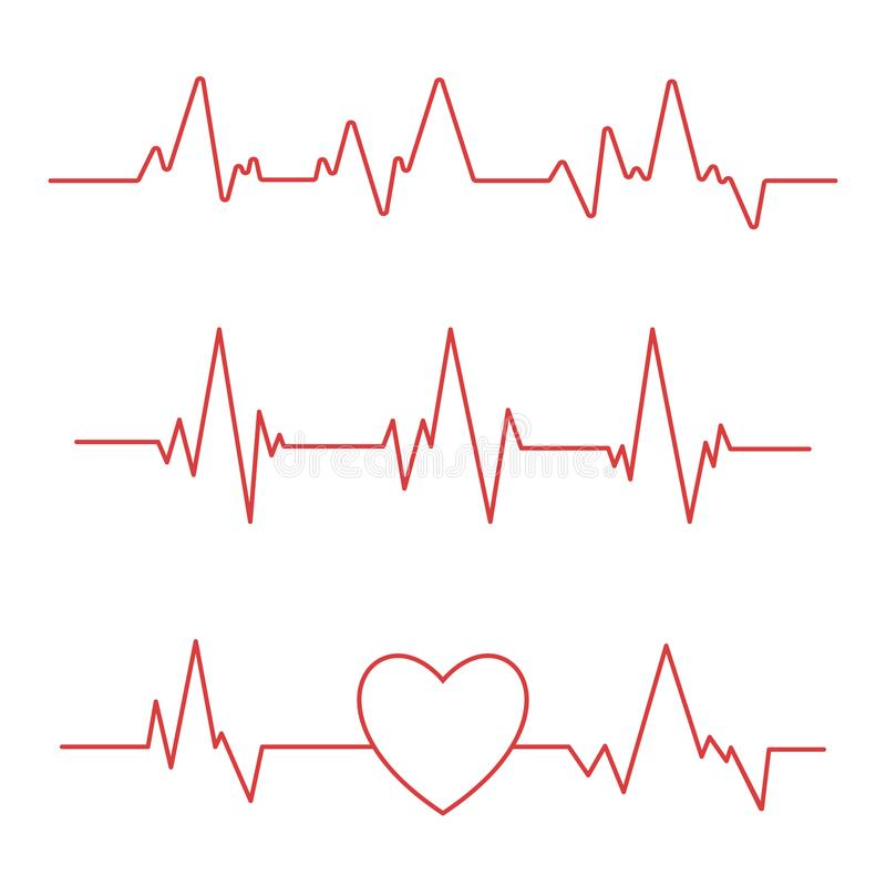 在白色背景隔绝的心跳线 心脏心电图象 皇族释放例证
