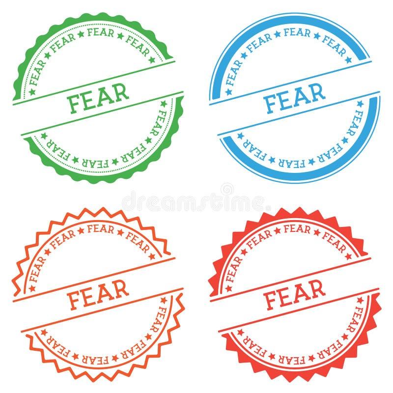 在白色背景隔绝的恐惧徽章 库存例证