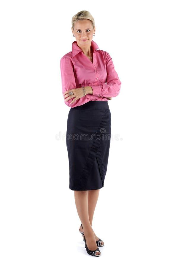 在白色背景隔绝的成熟的商业妇女 库存图片