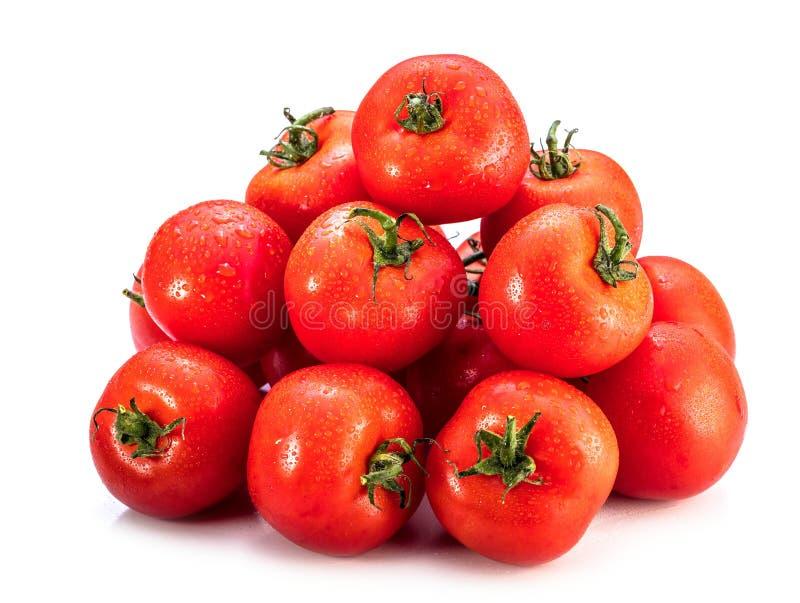 在白色背景隔绝的成熟蕃茄 整个菜 库存图片