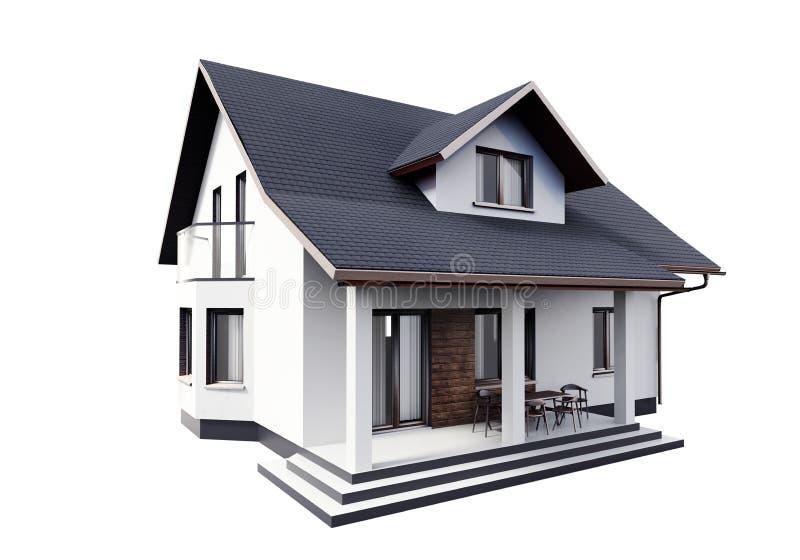 在白色背景隔绝的房子3d翻译 库存例证