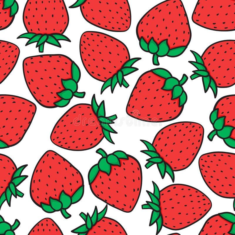 在白色背景隔绝的手图画草莓时尚剪影无缝的样式 传染媒介例证印刷品设计 皇族释放例证