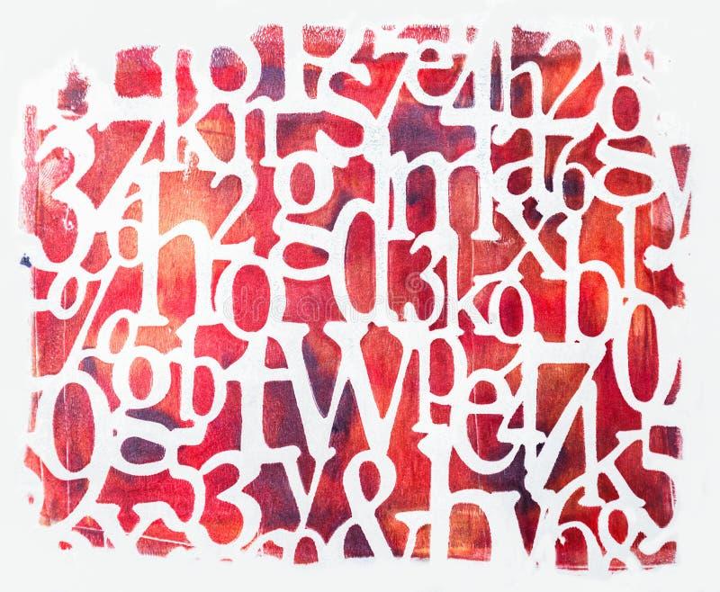 在白色背景隔绝的手工制造红色字体 库存照片