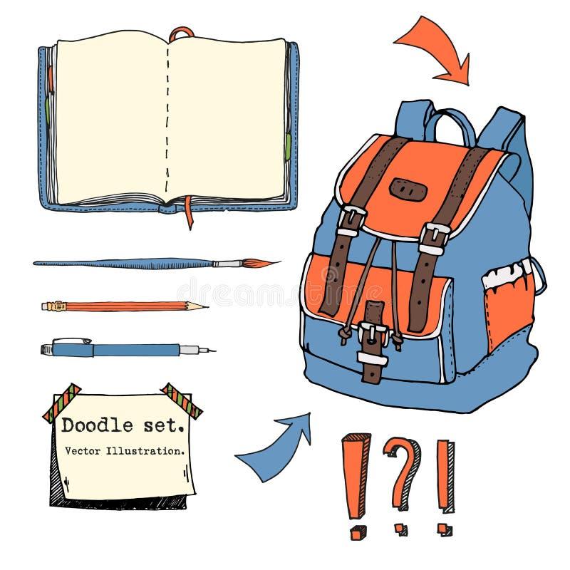 在白色背景隔绝的手拉的乱画套青少年的元素 回到学校 固定式,笔记本,稠粘的笔记,背包 向量例证