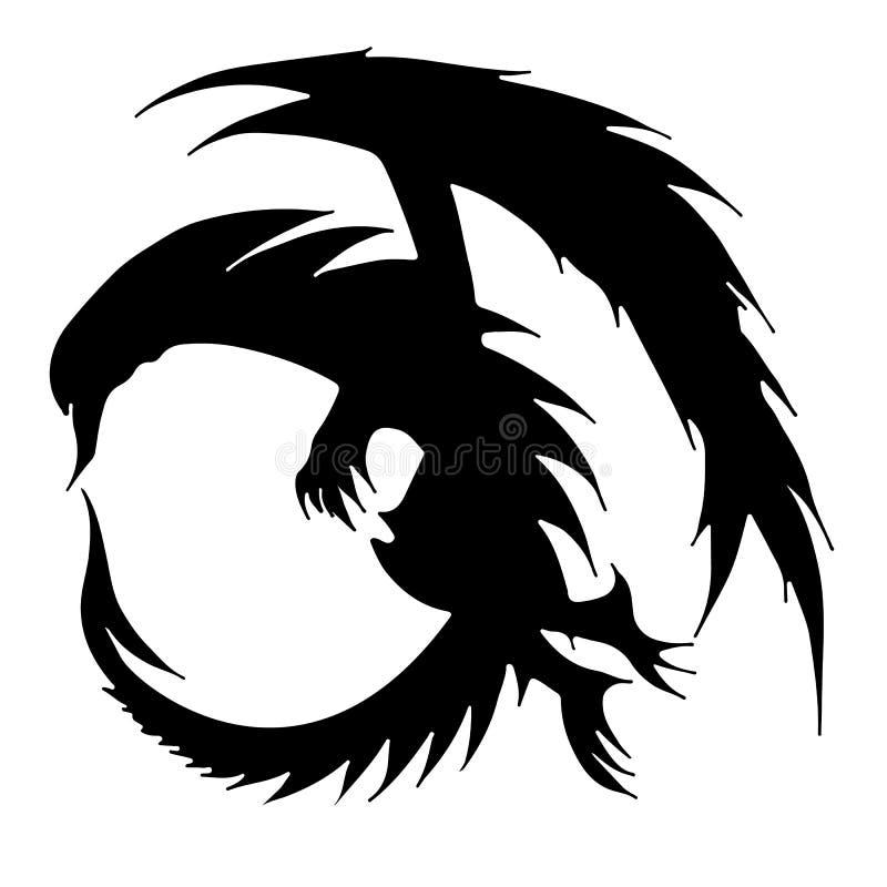 在白色背景隔绝的手拉的传染媒介龙例证 意想不到的龙象 徒手画的神话aminal ?? 皇族释放例证