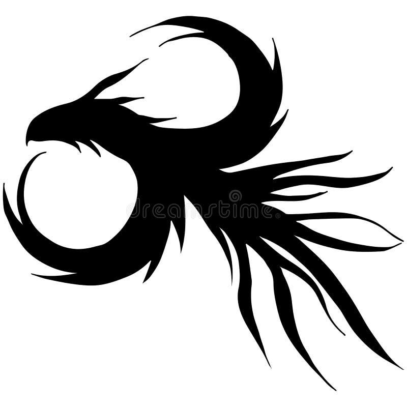 在白色背景隔绝的手拉的传染媒介龙剪影 意想不到的龙象 徒手画的神话aminal ?? 向量例证