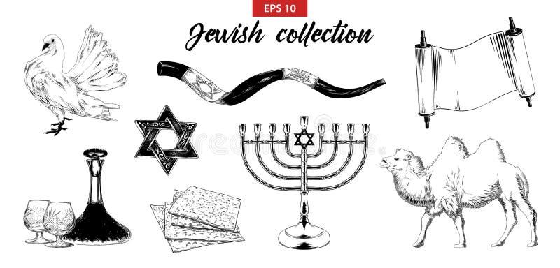 在白色背景隔绝的手拉的剪影套犹太元素 向量例证