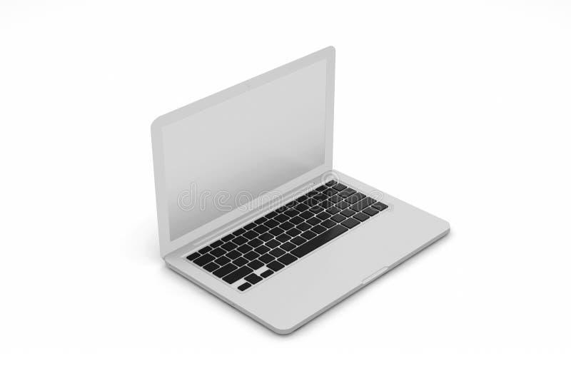 在白色背景隔绝的手提电脑 3d?? 皇族释放例证