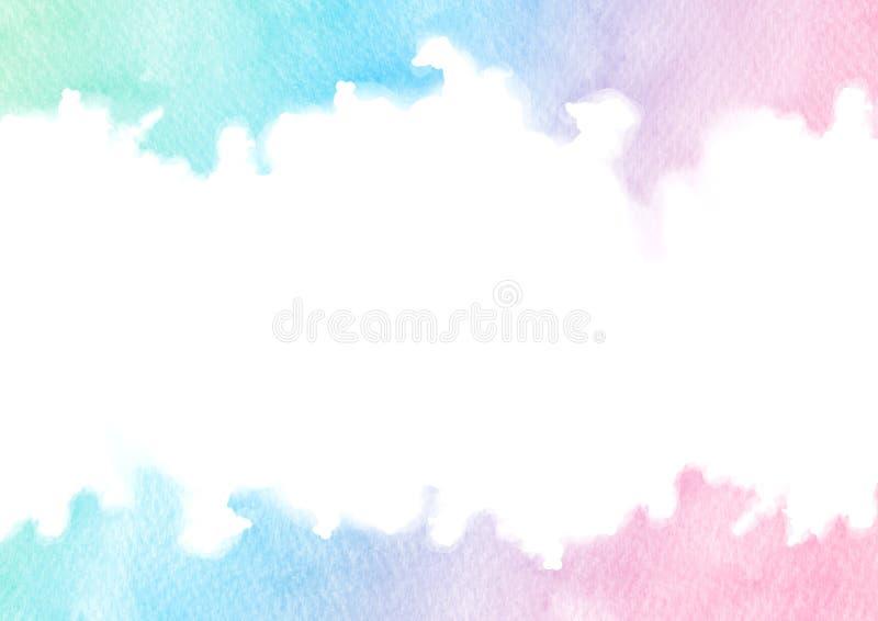 在白色背景隔绝的手画五颜六色的水彩纹理框架 卡片的长方形边界模板 库存例证