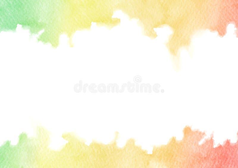 在白色背景隔绝的手画彩虹水彩纹理框架 长方形传染媒介边界 库存例证