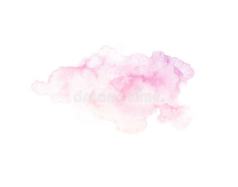 在白色背景隔绝的手画紫色和桃红色水彩纹理 免版税库存照片