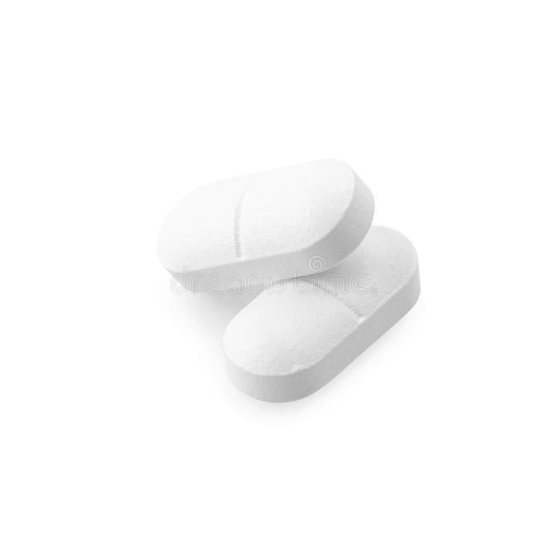在白色背景隔绝的扑热息痛药物 免版税图库摄影