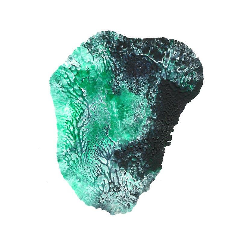 在白色背景隔绝的抽象丙烯酸酯的斑点 绿松石黑绿色混杂的充满活力的颜色 Monotyped手拉的难看的东西 向量例证