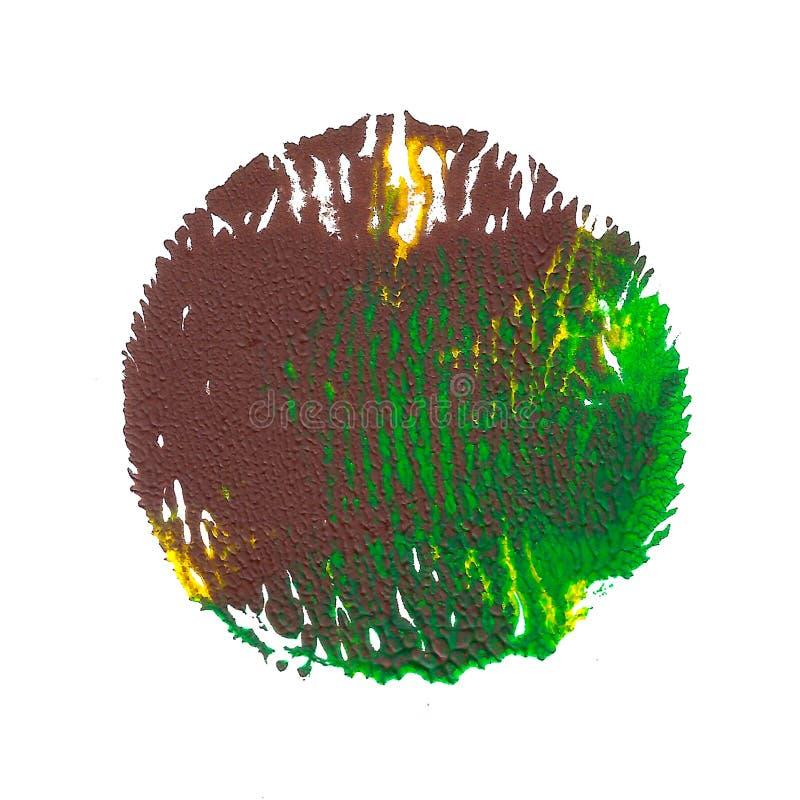 在白色背景隔绝的抽象丙烯酸酯的斑点 绿色,棕色,黄色充满活力的颜色 库存例证