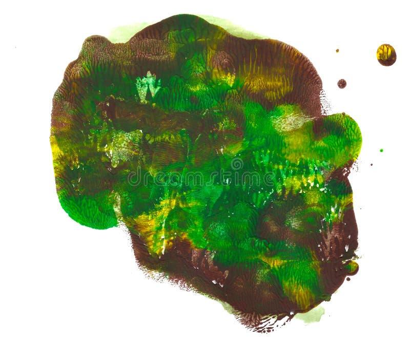 在白色背景隔绝的抽象丙烯酸酯的斑点 绿色,棕色,黄色充满活力的颜色 Monotyped手拉的难看的东西 库存例证