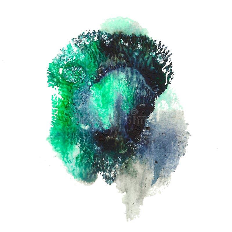 在白色背景隔绝的抽象丙烯酸酯的斑点 绿色,绿松石,黑充满活力的颜色 向量例证