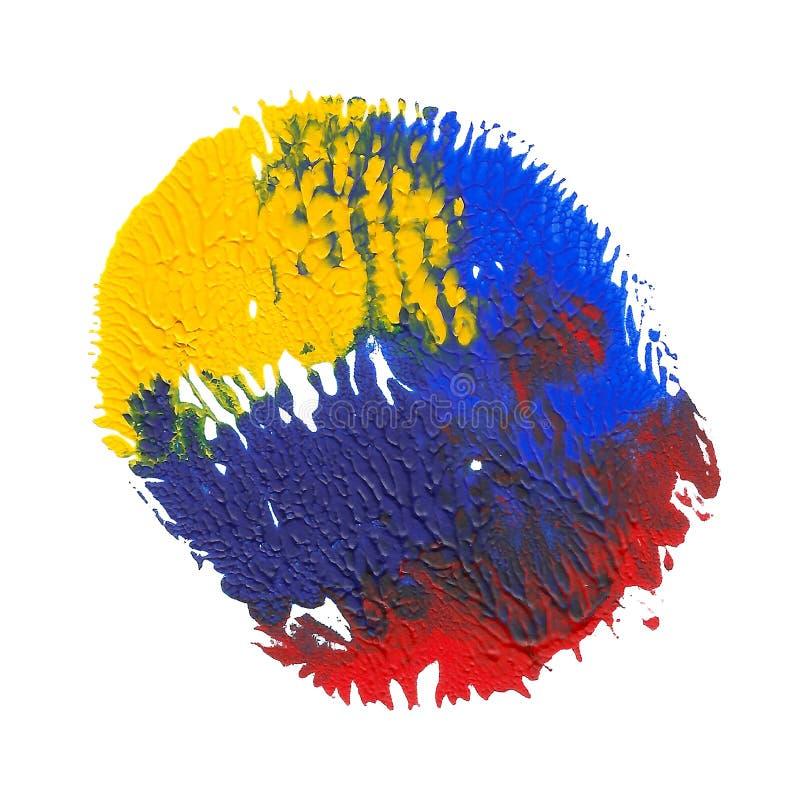在白色背景隔绝的抽象丙烯酸酯的斑点 黄色,蓝色,红色充满活力的颜色 库存例证
