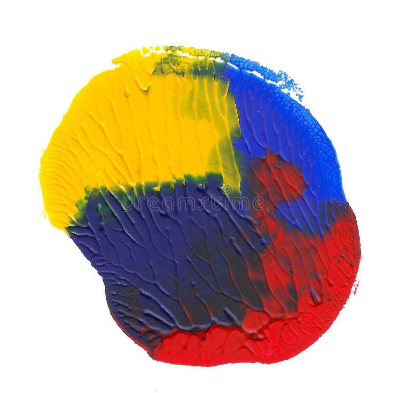 在白色背景隔绝的抽象丙烯酸酯的斑点 黄色,蓝色,红色充满活力的颜色 Monotyped手拉的难看的东西 向量例证