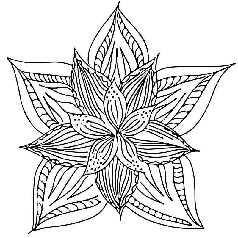 在白色背景隔绝的抽象手拉的莲花 r r r 库存例证