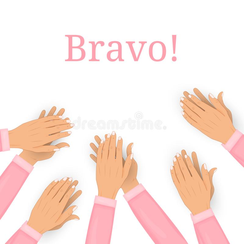 在白色背景隔绝的拍的人的手 掌声,喝彩声 祝贺,荣誉,公认概念 向量 向量例证