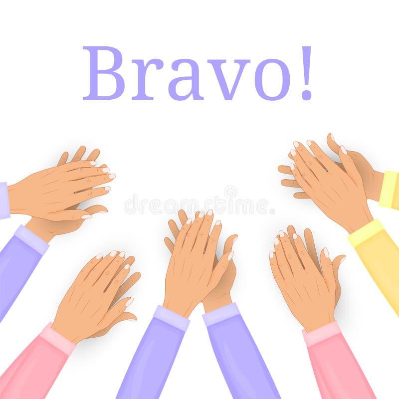 在白色背景隔绝的拍的人的手 掌声,喝彩声 祝贺,荣誉,公认概念 向量 库存例证