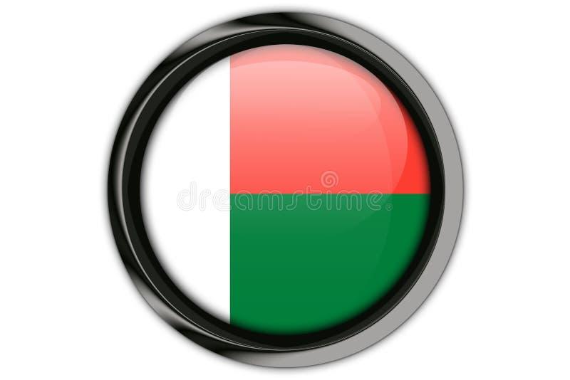 在白色背景隔绝的按钮别针的马达加斯加旗子 库存例证