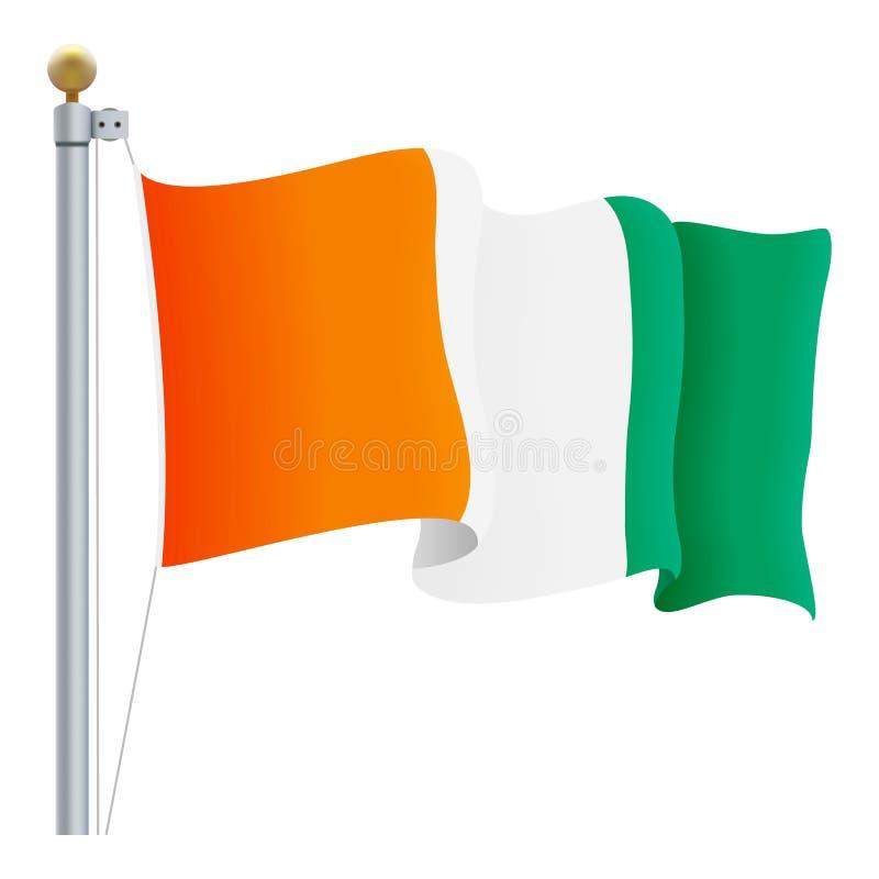 在白色背景隔绝的挥动的彻特D Ivoire旗子 也corel凹道例证向量 库存例证